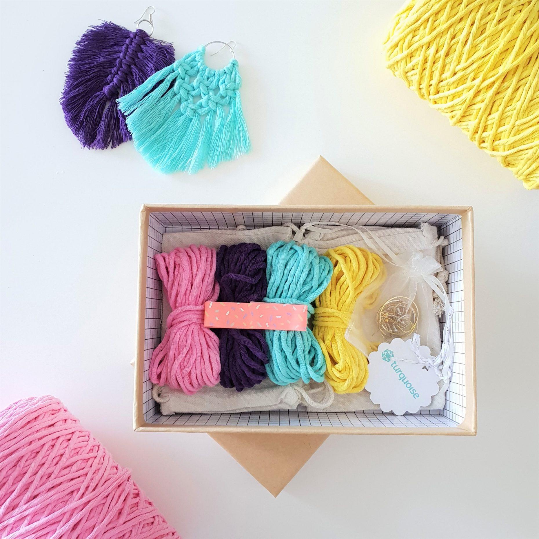 Macrame Earrings Do-It Yourself Kit DIY Macrame Craft Kit Macrame Kit Step-by-step Learn to Macrame How to Macrame