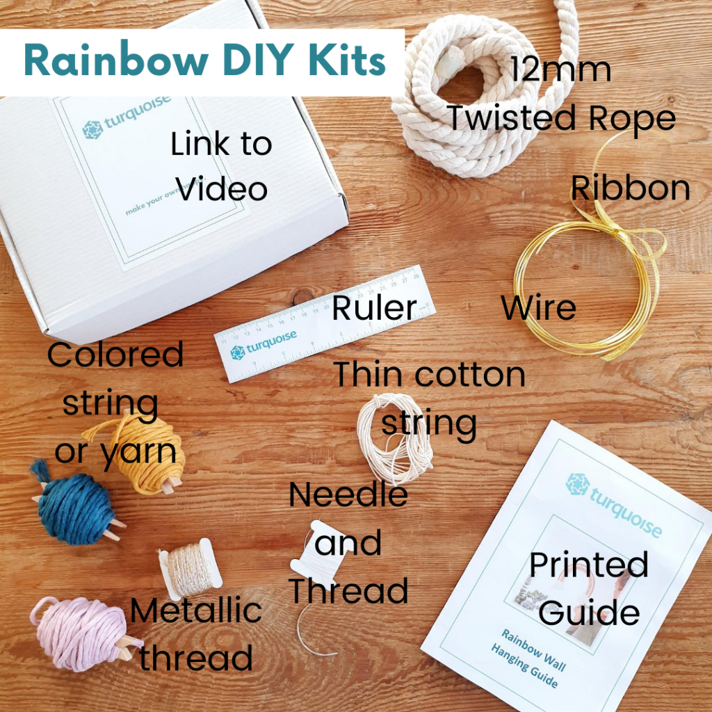 Rainbow DIY Kits materials list of 12mm twisted rope, ribbon, wire, ruler, colored string or yarn, needle and thread, printed guide and metallic thread shown