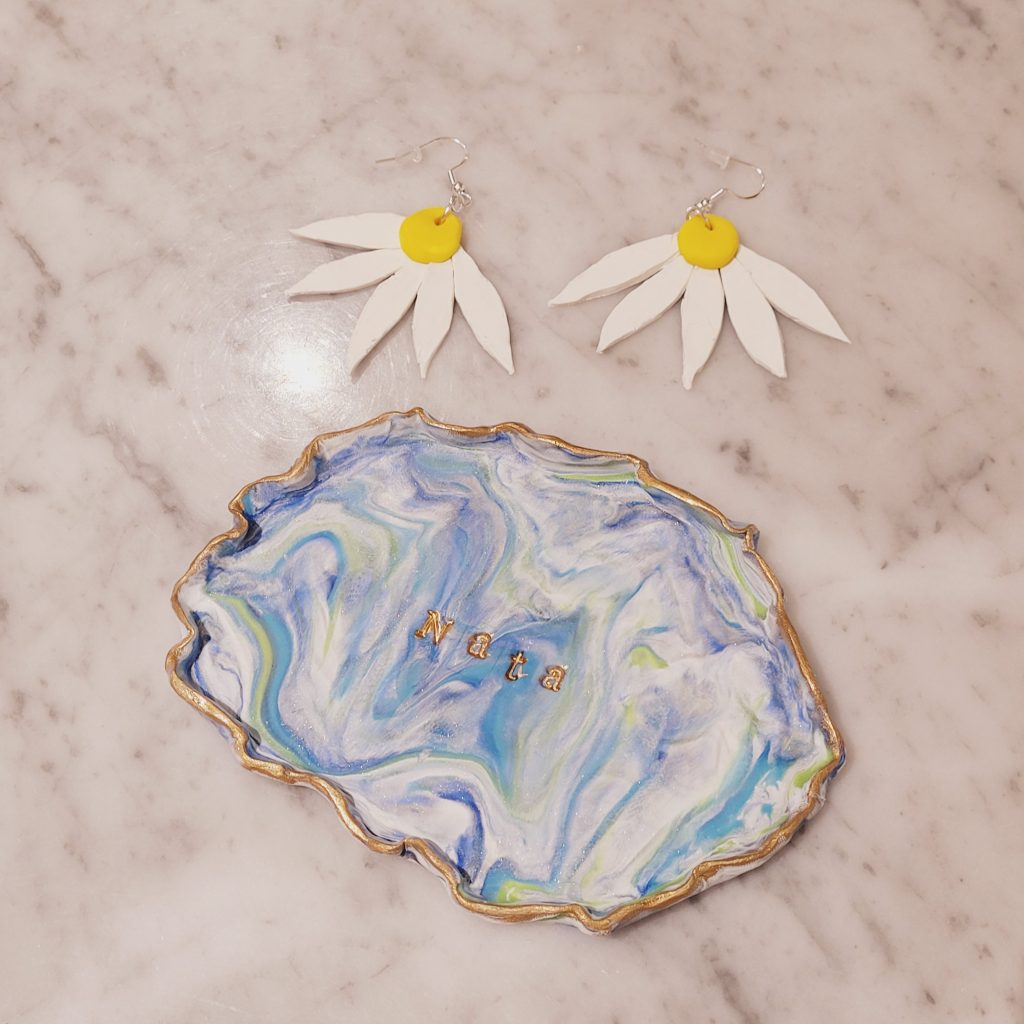 Polymer Clay Dish and Earrings
